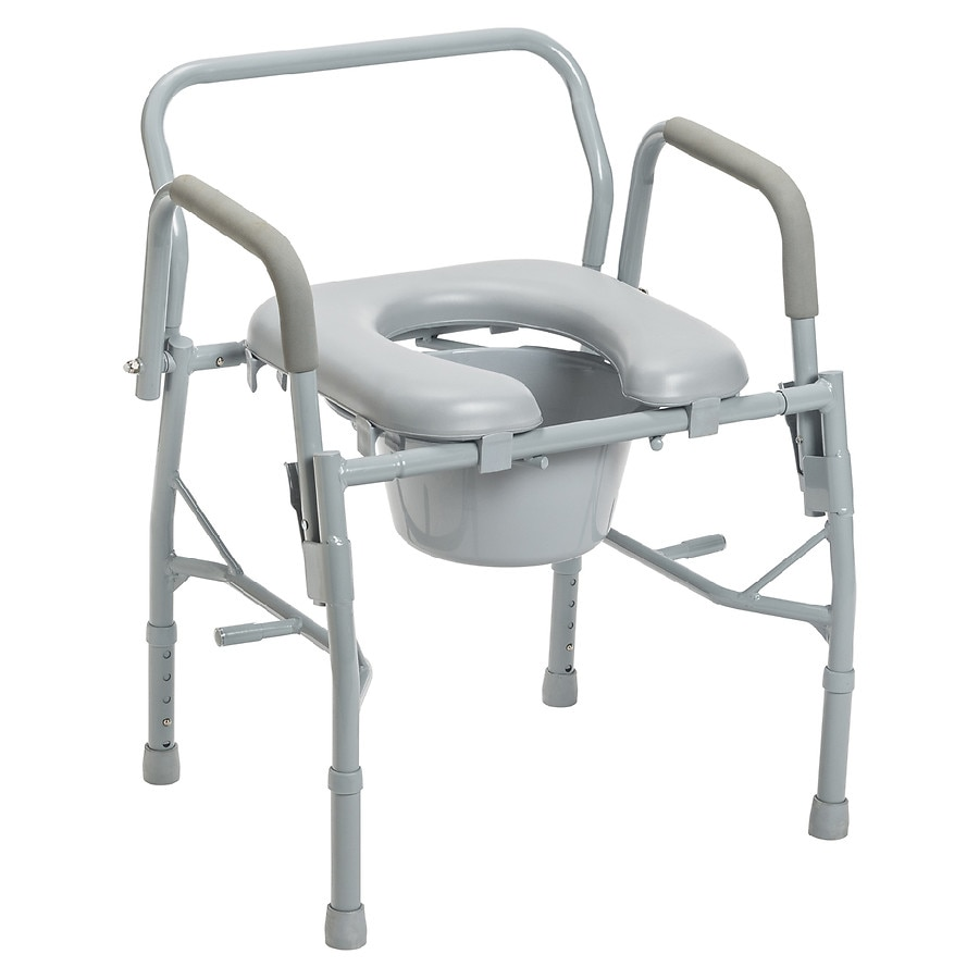 Drive Medical Steel Drop Arm Bedside Commode with Padded Seat & Arms ...