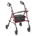 Drive Medical Harmony Adjustable Height Rollator 6 Inch Wheels Red