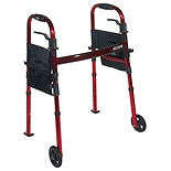 Drive Medical Portable Folding Travel Walker with Wheels & Fold up Legs 5 inch Wheels Red