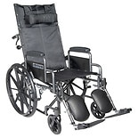 Drive Medical Silver Sport Reclining Wheelchair with Detachable Desk Arms and Leg rest 20 Inch Seat Silver Vein