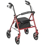 Drive Medical Four Wheel Rollator Walker with Fold Up Removable Back Support Red