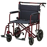 Drive Medical Bariatric Heavy Duty Transport Chair 22 Inch Seat Red