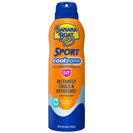 Banana Boat Sport Performance UltraMist CoolZone Continuous Spray Sunscreen, SPF 50+ Refreshing, Clean Scent - 6 oz.