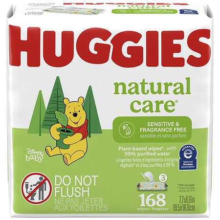 Huggies Natural Care Baby Wipes Fragrance Free, 3 pk