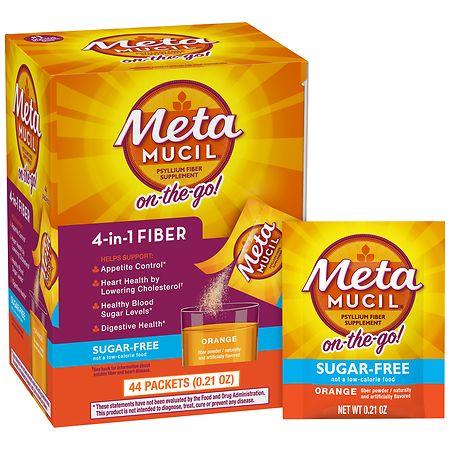 Metamucil Multi-Health Psyllium Fiber Supplement Sugar-Free Powder Orange Smooth - 44 ea