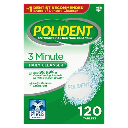 Polident 3 Minute Antibacterial Denture Cleanser Tablets - 120 ea