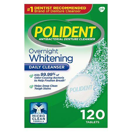 Polident Overnight Whitening, Antibacterial Denture Cleanser Triple Mint Freshness - 120 ea