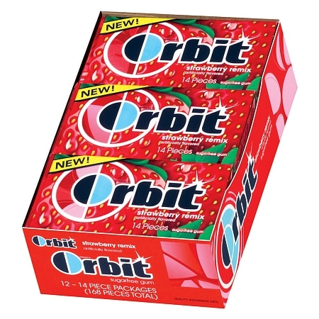 Orbit Sugar Free Gum Strawberry Remix, 12 pk