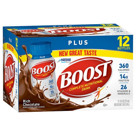 Boost Plus Complete Nutritional Drink Rich Chocolate, 8 oz Bottles, 12 pk