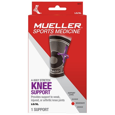 Mueller Sport Care 4-Way Stretch Knee Support, Moderate Support, Model 6414 - 1 ea