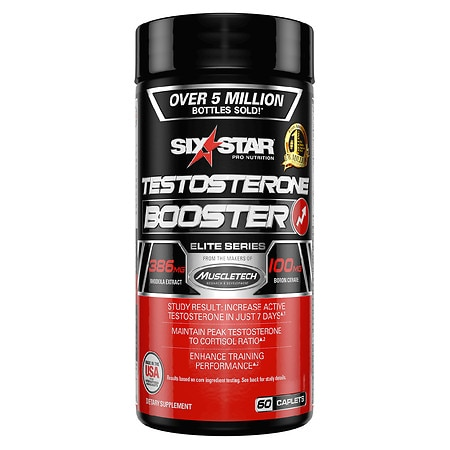 Six Star Elite Series Testosterone Booster Dietary Supplement Caplets - 60 ea