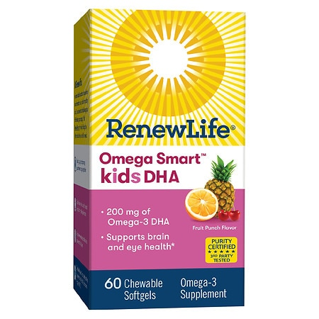 ReNew Life Omega Smart Kids DHA Omega-3 Supplement Chewable Softgels Fruit Punch