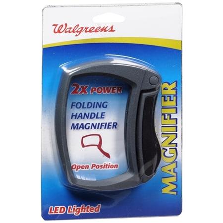 Walgreens Led Magnifold 2X Rectangular Folding Magnifier - 1 ea