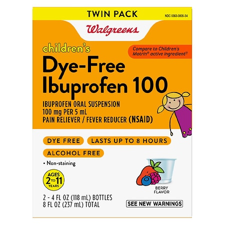 Walgreens Children's Ibuprofen 100 Oral Suspension Dye-Free Berry - 4 fl oz x 2 pack