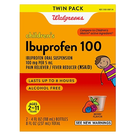 Walgreens Children's Ibuprofen 100 Oral Suspension 2 Pack Berry - 4 fl oz x 2 pack