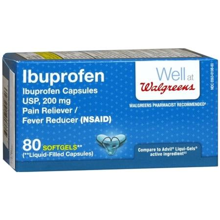 Walgreens Ibuprofen Pain Reliever/Fever Reducer 200 mg Softgels - 80 ea