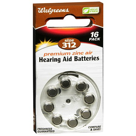 Walgreens Hearing Aid Batteries, Zero Mercury #312 - 16 ea