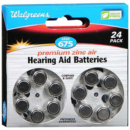 Walgreens Hearing Aid Batteries, Zero Mercury #675 - 24 ea