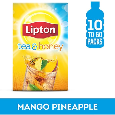 Lipton Tea & Honey Iced Green Tea To-Go Packets, Mango Pineapple Iced Green Tea, 10 ct