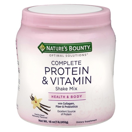 Nature's Bounty Optimal Solutions Complete Protein & Vitamin Shake Mix Vanilla Bean