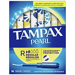 Tampax Tampons with Pearl Plastic Applicators Unscented, Regular