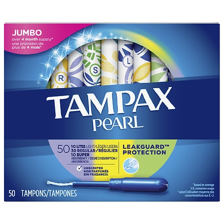 Tampax Pearl Plastic Tampons, Unscented Unscented, Regular/Super/Lite - 50 ea
