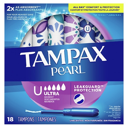 Tampax Pearl Plastic Tampons, Unscented Unscented, Ultra - 18 ea