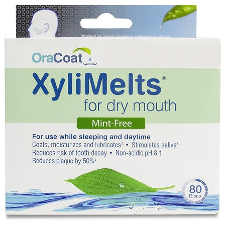 XyliMelts Discs for Dry Mouth Mint Free - 80 ea