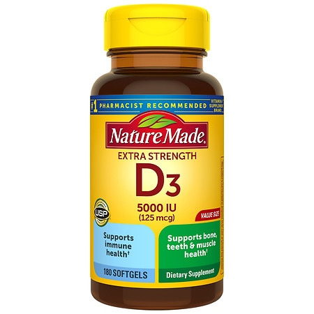 Nature Made Vitamin D3 5000 IU, Ultra Strength, Softgels - 180 ea