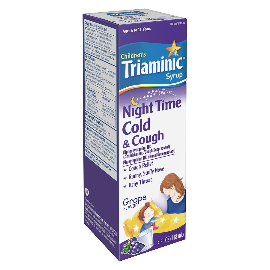 Triaminic Childrens Nighttime Cold Cough Syrup Grape Walgreens