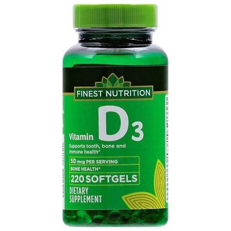 Finest Nutrition D3 Vitamin 2000 IU Dietary Supplement Softgels - 220 ea