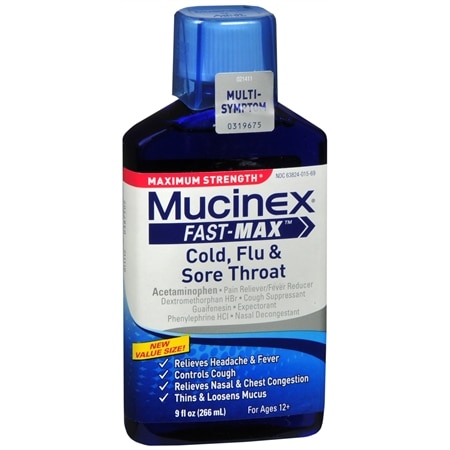 Mucinex Maximum Strength Fast-Max Cold, Flu & Sore Throat, Multi-Symptom - 9 fl oz