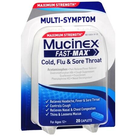 Mucinex Maximum Strength Fast-Max Adult Caplets, Cold, Flu & Sore Throat - 20 ea