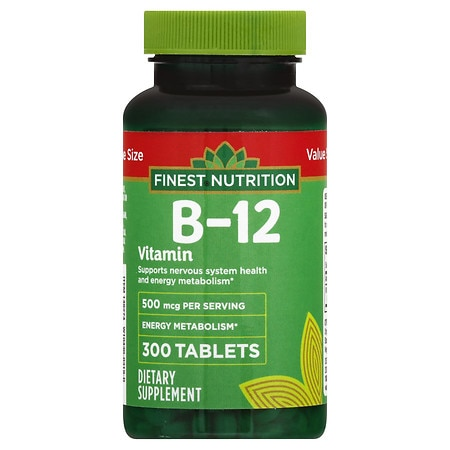 Finest Nutrition B-12 Vitamin 500 mcg Dietary Supplement ...