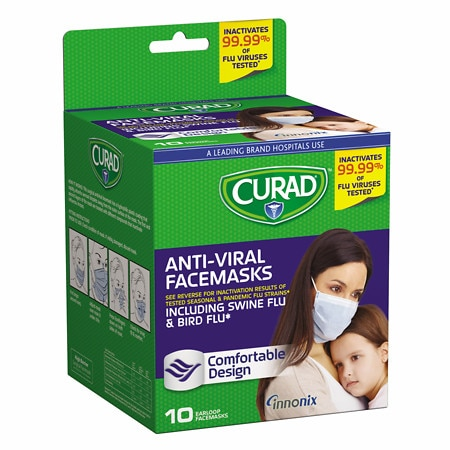 Curad Antiviral Facemasks 10 Masks - 10 ea