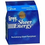 L'eggs Sheer Energy Control Top Sheer Toe Revitalizing Sheer Pantyhose Q Plus Nude