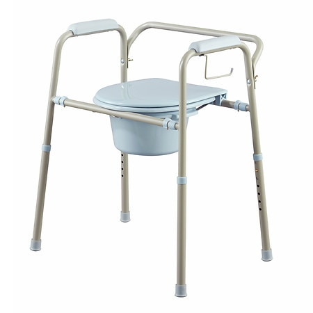 Medline Tool-Free Foldable Commode with Microban Antimicrobial Treatment