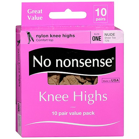 No Nonsense Comfort Top Sheer Toe Knee Highs, Size 1 - 10 pr