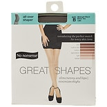 No Nonsense Great Shapes All-Over Shaper Sheer Toe Body Shaping Pantyhose Midnight Black CB9