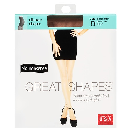 914d04df12ac2 No Nonsense Great Shapes All-Over Shaper Sheer Toe Body Shaping Pantyhose  Beige Mist EL7