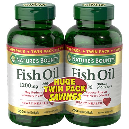 Nature's Bounty Odorless Fish Oil 1200 mg Dietary Supplement Softgels Twinpack 2 pk