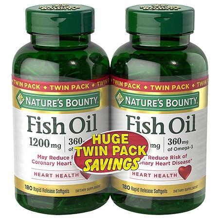 Nature's Bounty Fish Oil 1200 mg Rapid Release Liquid Softgels Twinpack - 180 ea x 2 pack