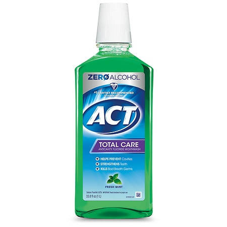 Image of ACT Total Care Anticavity Fluoride Mouthwash Alcohol Free Fresh Mint - 33.8 fl oz