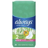 Always Ultra Thin Fresh Pads With Wings Clean Scent, Size 2 Long Super