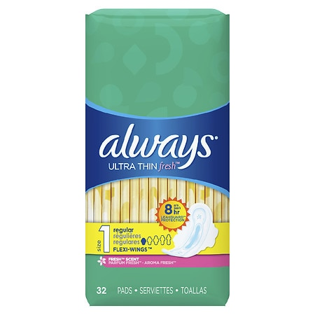 Always Fresh Ultra Thin Active Pads, Regular with Flexi-Wings Clean Scent