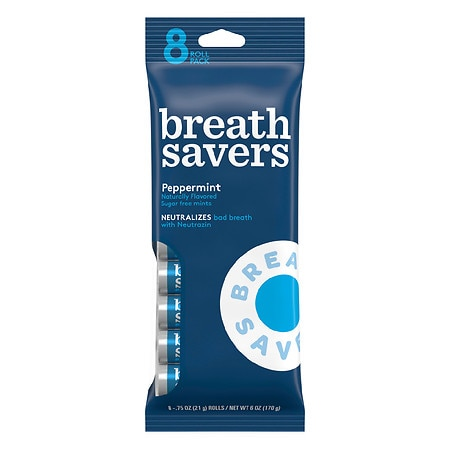Breath Savers Sugar Free Mints Peppermint,8 pk
