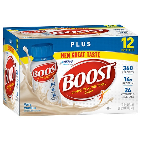 Boost Plus Complete Nutritional Drink 8 oz Bottles, 12 pk