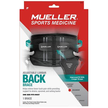Mueller Sport Care Adjustable Lumbar Back Brace, Maximum Support, Model 6721 One Size - 1 ea