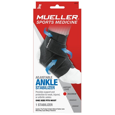 Mueller Adjustable Ankle Stabilizer, Maximum Support, Model 6518 One Size Black