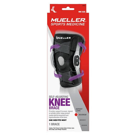 Mueller Adjustable Hinged Knee Brace, Maximum Support, Model 6455 One Size Black